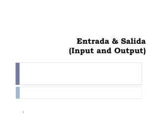 Entrada & Salida (Input and Output)