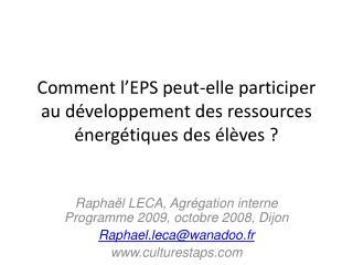 Comment l EPS peut-elle participer au d veloppement des ressources  nerg tiques des  l ves