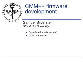 CMM++ firmware development