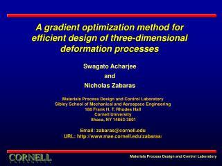 A gradient optimization method for efficient design of three-dimensional deformation processes