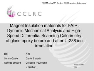 Magnet Insulation materials for FAIR: Dynamic Mechanical Analysis and High-Speed Differential Scanning Calorimetry of gl