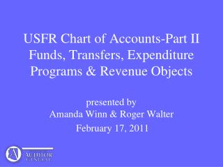 USFR Chart of Accounts-Part II  Funds, Transfers, Expenditure Programs & Revenue Objects