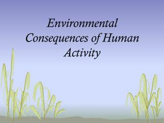 Environmental Consequences of Human Activity
