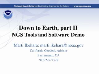 Down to Earth, part II NGS Tools and Software Demo