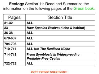 Ecology  Section 11: Read and Summarize the information on the following pages of the  Green book.