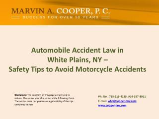 Automobile Accident  Law  in  White Plains, NY – Safety  Tips to Avoid Motorcycle Accidents