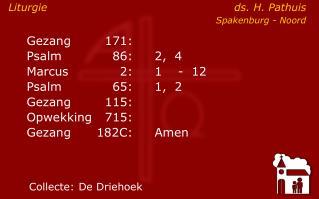 Liturgie ds. H. Pathuis Spakenburg - Noord