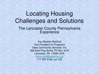 Locating Housing Challenges and Solutions