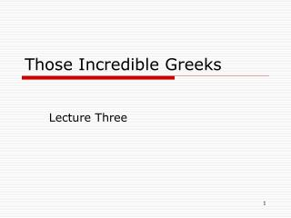 Those Incredible Greeks