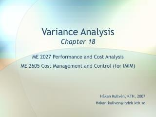 Variance Analysis Chapter 18