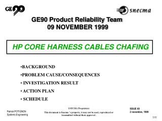 GE90 Product Reliability Team   09 NOVEMBER 1999