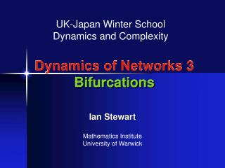 Dynamics of Networks 3 Bifurcations