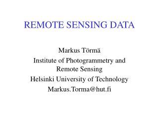 REMOTE SENSING DATA