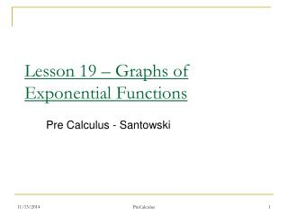 Lesson 19 � Graphs of Exponential Functions