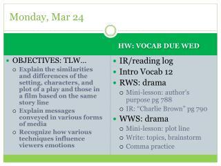 Monday, Mar 24