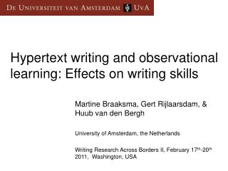 Hypertext writing and observational learning: Effects on writing skills