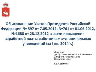 Директор  департамента социальной политики Аппарата  Правительства  Пермского края Е.В. Сеземина