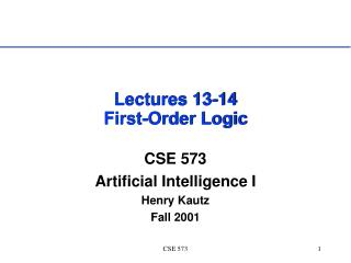 Lectures 13-14 First-Order Logic