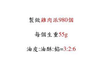 製做 雞肉派 980 個 每個生重 55g 油皮 : 油酥 : 餡 = 3:2:6