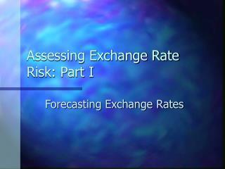 Assessing Exchange Rate Risk: Part I