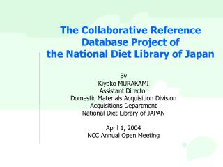 The Collaborative Reference Database Project of the National Diet Library of Japan