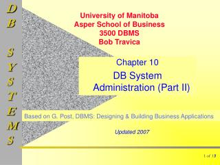 Chapter 10 DB System Administration (Part II)
