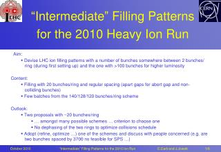 """Intermediate"" Filling Patterns  for the 2010 Heavy Ion Run"