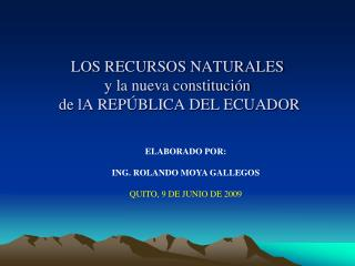 LOS RECURSOS NATURALES  y la nueva constituci n   de lA REP BLICA DEL ECUADOR