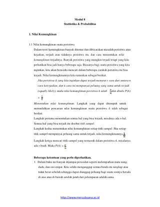 Modul 8 Stattistika & Probabilitas 1. Nilai Kemungkinan 1.1 Nilai kemungkinan suatu peristiwa