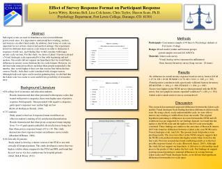 Effect of Survey Response Format on Participant Response