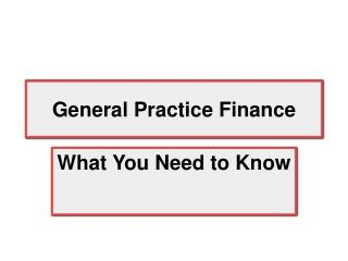 General Practice Finance