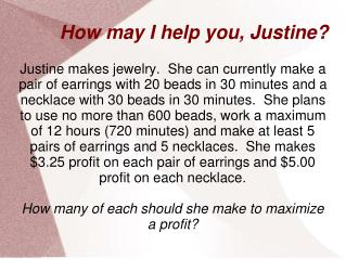 How may I help you, Justine?