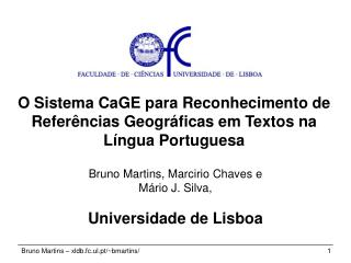 O Sistema CaGE para Reconhecimento de Referências Geográficas em Textos na Língua Portuguesa