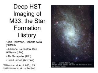 Deep HST Imaging of M33: the Star Formation History