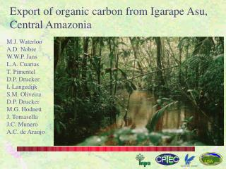 Export of organic carbon from Igarape Asu, Central Amazonia