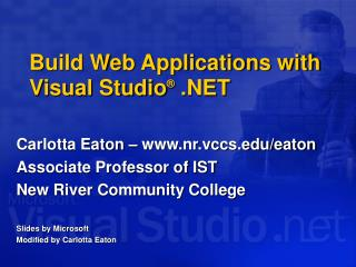 Build Web Applications with Visual Studio