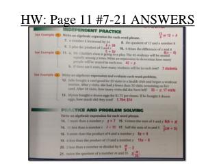 HW: Page 11 #7-21 ANSWERS
