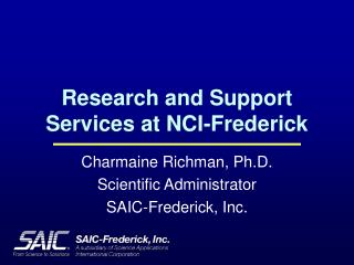 Research and Support Services at NCI-Frederick