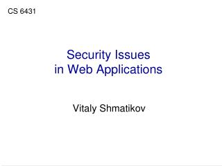 Security Issues in Web Applications