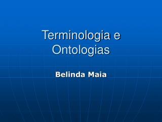 Terminologia e Ontologias