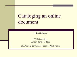 Cataloging an online document