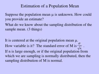 Estimation of a Population Mean