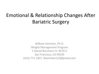 Emotional & Relationship Changes After Bariatric Surgery