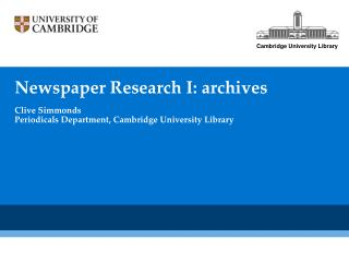 Newspaper Research I: archives
