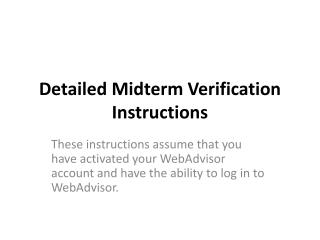 Detailed Midterm Verification Instructions