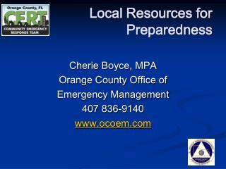 Local Resources for Preparedness
