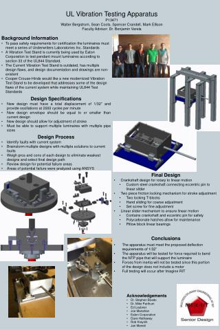 UL Vibration Testing Apparatus P13471 Walter Bergstrom, Sean Coots, Spencer Crandell, Mark Ellison