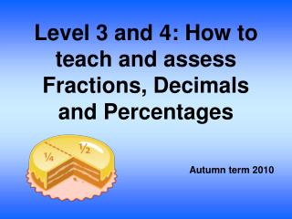 Level 3 and 4: How to teach and assess Fractions, Decimals and Percentages
