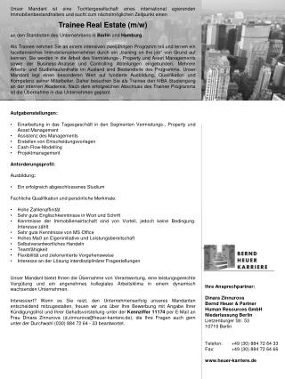 Ihre Ansprechpartner: Dinara Zinnurova Bernd Heuer & Partner Human Resources GmbH