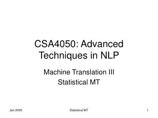 CSA4050: Advanced Techniques in NLP